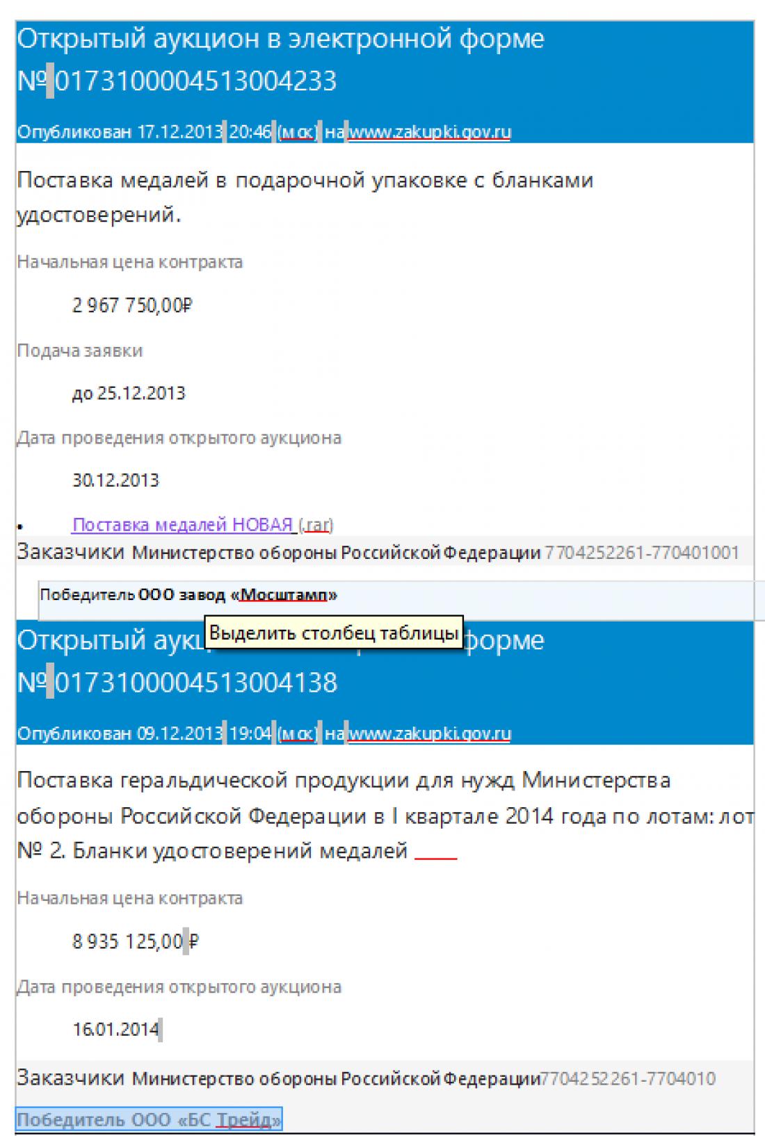 Победителем тендера является ООО Завод Мосштамп