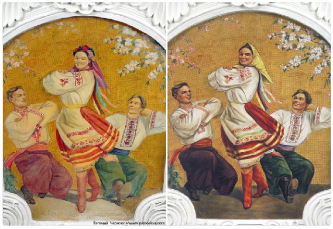 Фреска до и после реставрации