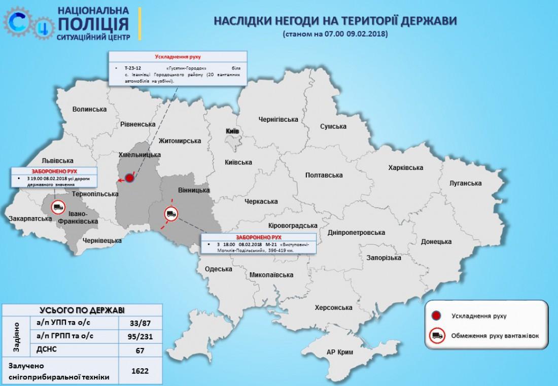 Ситуация на дорогах Украины (на 7 утра 9 февраля)