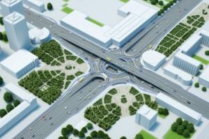 Согласно ТЗ пешеходные и транспортные потоки будут полностью разведены