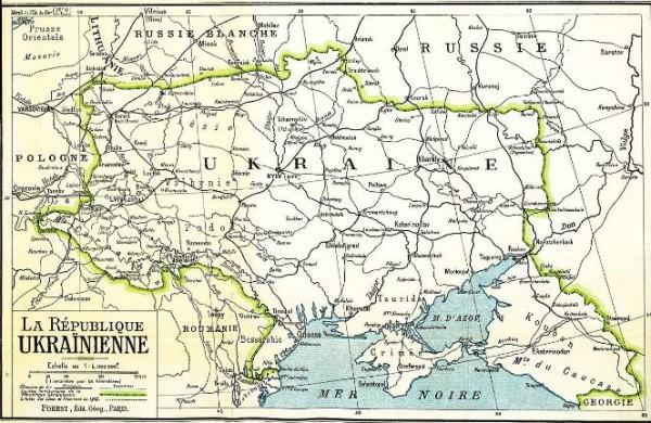 Граница УНР в день объединения 22 января 1919 года была значительно длиннее современной