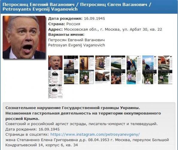 Гастролирующий в Крыму Петросян попал в базу Миротворца