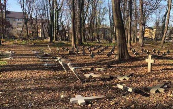 Поваленные кресты на польском кладбище в Коломые