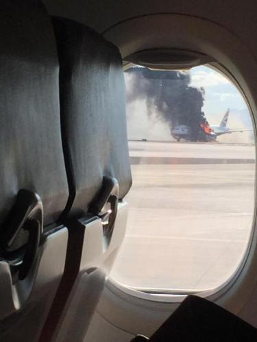 Горящий самолет в Лас-Вегасе