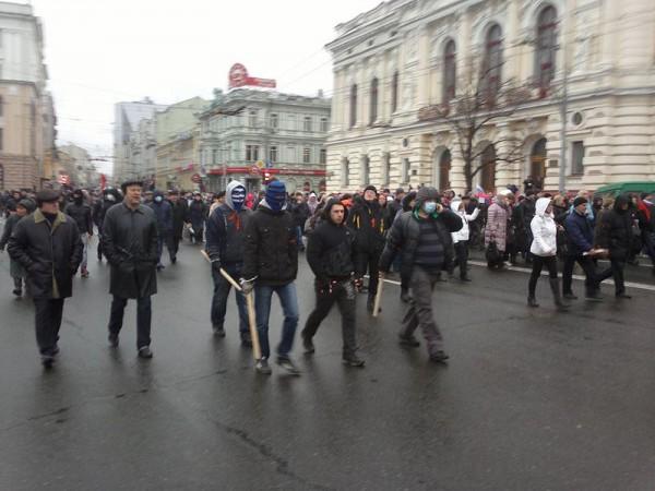 Шествие пророссийских активистов в Харькове