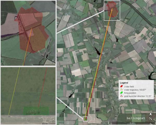 Поле с воронками и огневые позиции, вид с северо-северо-востока