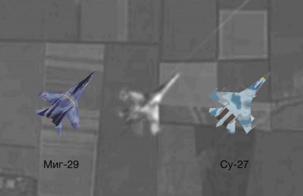 На фотографии предположительно СУ-27, но никак не МиГ, о котором говорят в репортаже. Вот сравнение, обратите внимание на хвост.