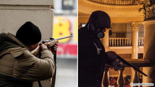 Евгений Малолетка снял на фото олюдей с оружием в Консерватории