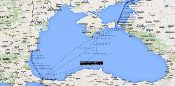 Схема передвижения Российского сухогруза
