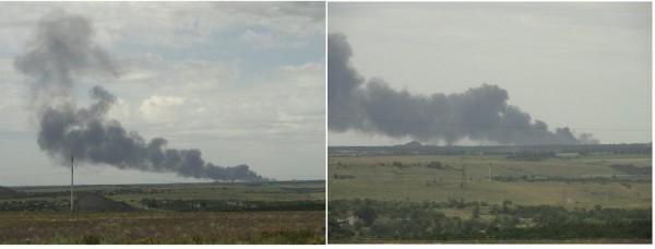 В соцсетях сообщают, что это дым от сбитого самолета
