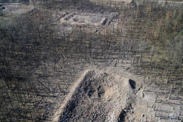 Сгоревшие военные склады в Калиновке