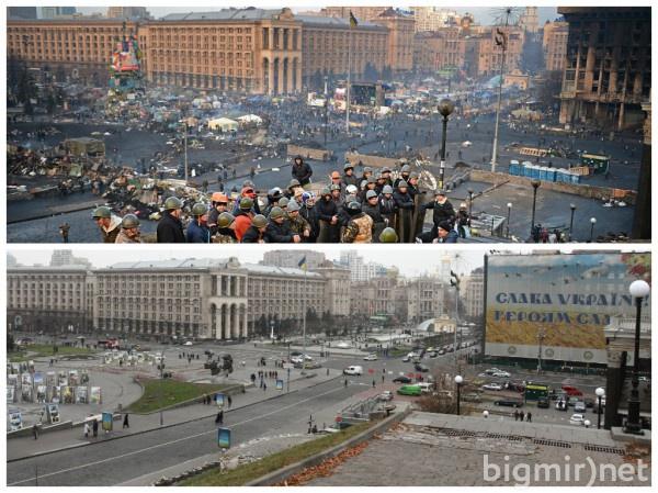 Киев, год после Евромайдана: фотосравнение