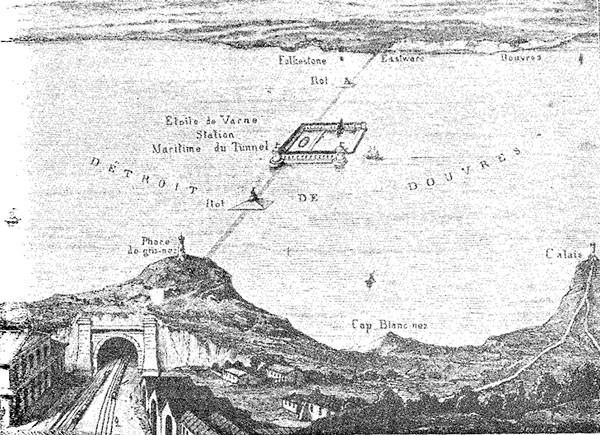 Репродукция чертежа Томэ де Гамона 1856 года опубликована в книге Томаса Уайрсайда «Туннель под каналом» в 1962 году