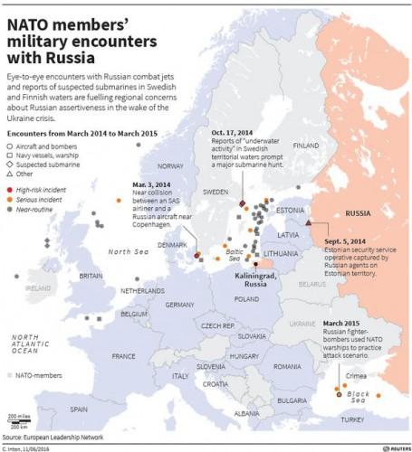 Карта активности российских военных