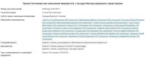 Проект постановления об отставке Авакова
