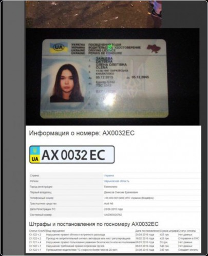 Водительское удостоверение Елены Зайцевой