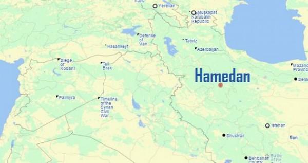 Авиабаза Хамедан на карте региона