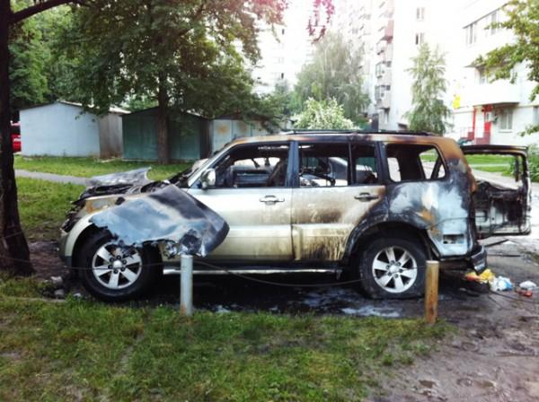 Автомобиль ударовца полностью сгорел