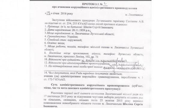 Протокол о совершении коррупционного административного правонарушения