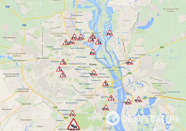 Где в Киеве чаще происходят аварии и пробки