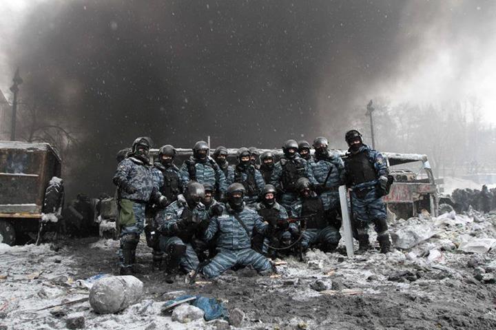 Беркут после зачистки ул. Грушевского 22 января