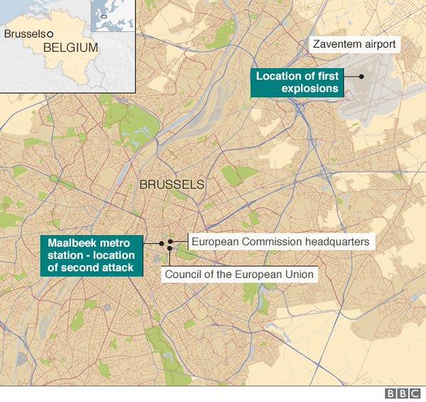 Карта терактов в Брюсселе