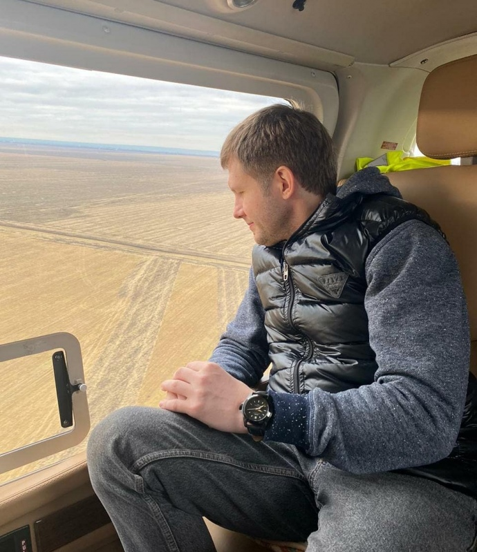 Борис Корчевников в вертолёте Медведчука