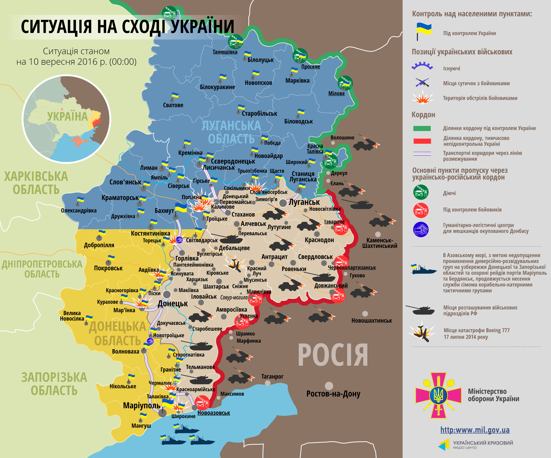 Карта АТО на 10 сентября