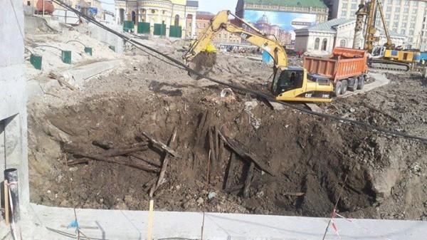 Место раскопок на Почтовой площади в Киеве