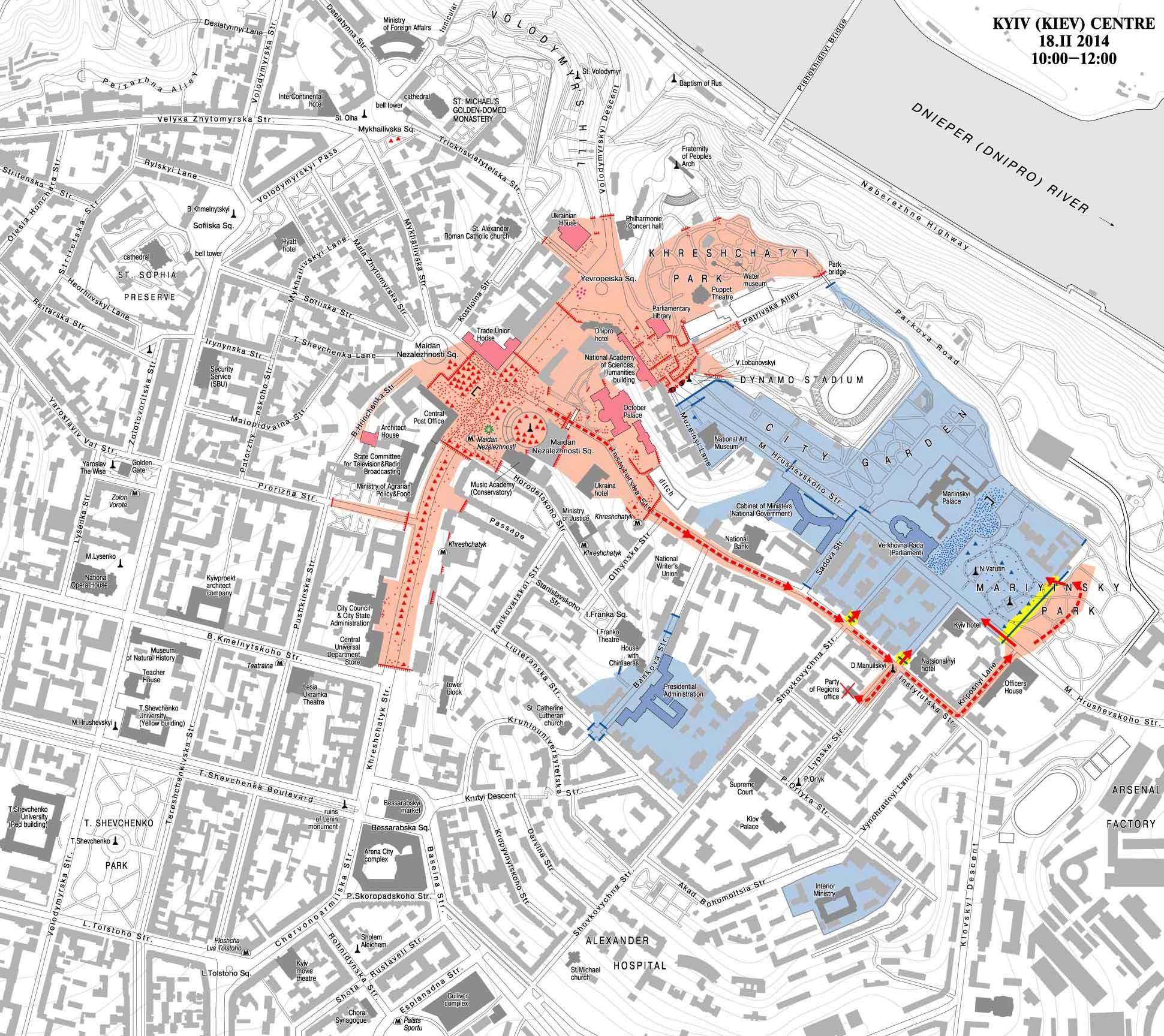 Карта столкновений в правительственном квартале