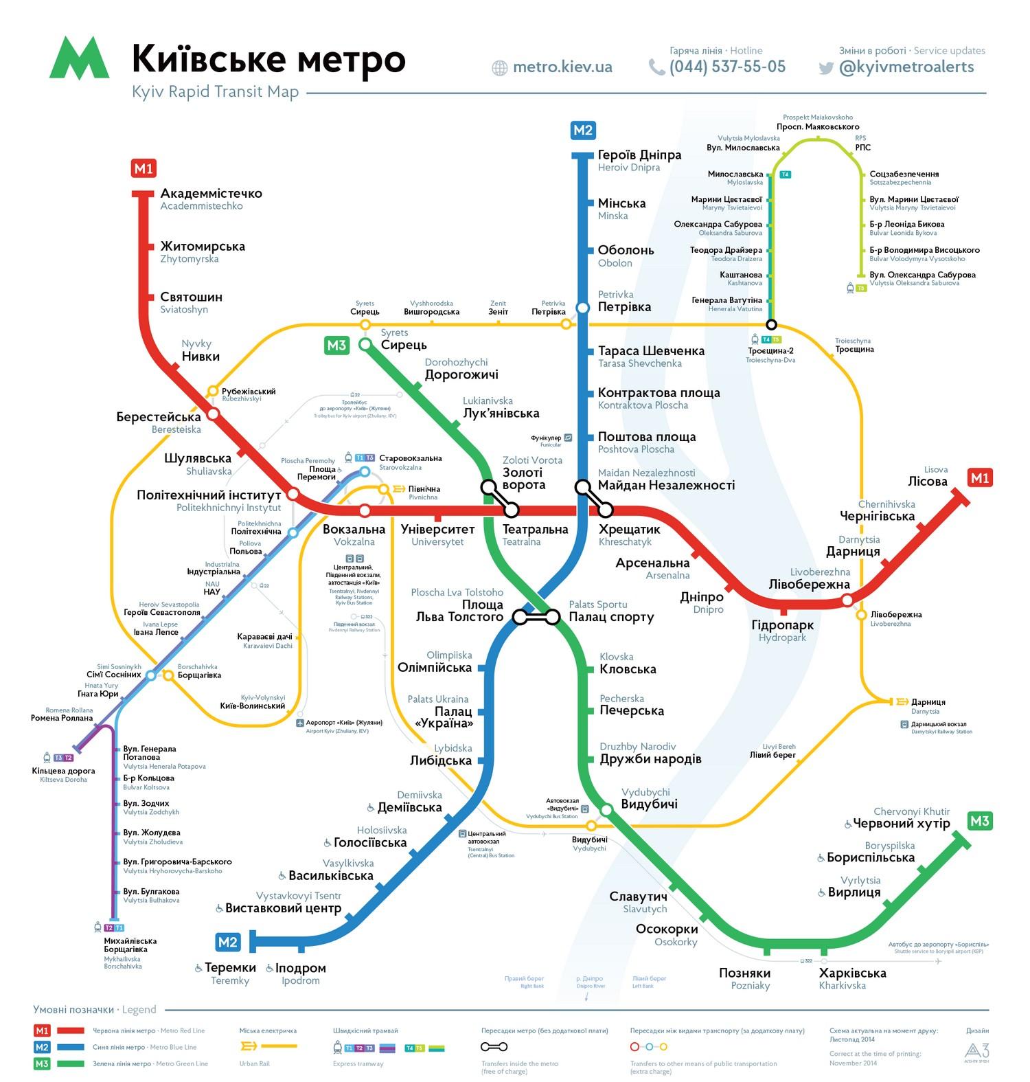 Новая схема киевского метрополитена