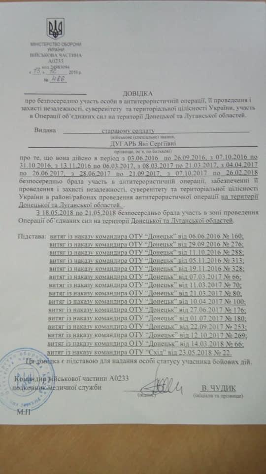 Документ, подтверждающий алиби Дугарь