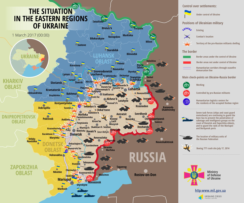 Штаб АТО: Боевики вели интенсивный обстрел изтяжелой артиллерии: ранен украинский боец