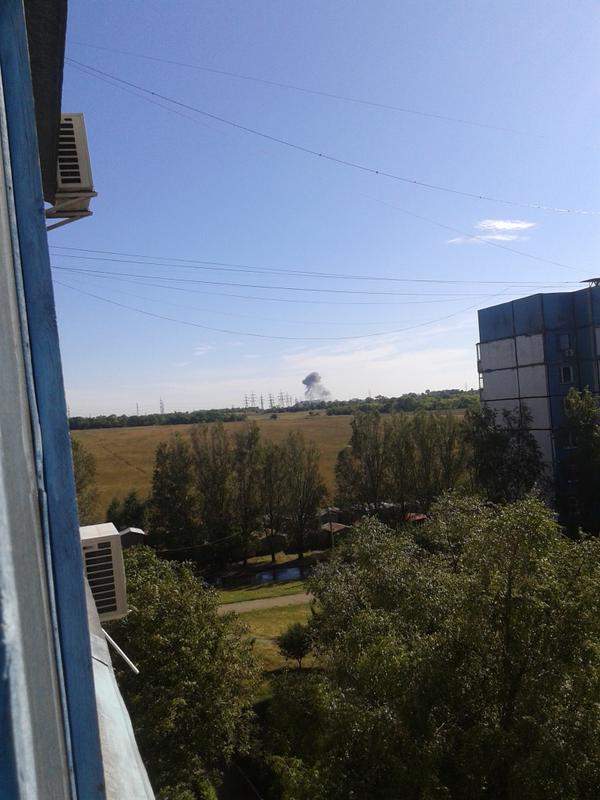 Дым после взрыва в Донецке