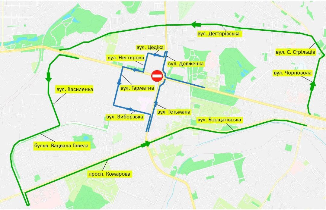 На карте показана схема объезда