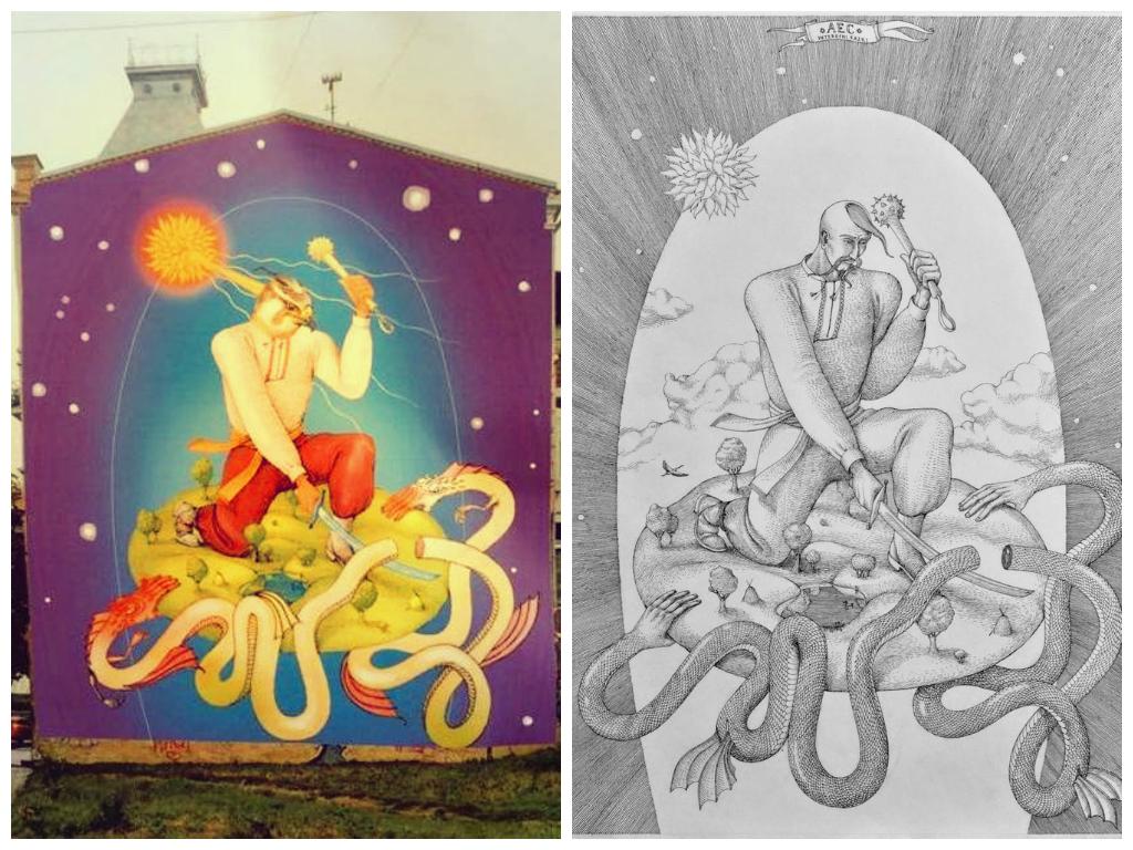 Эскиз нового граффити на стене дома по улице Большая Житомирская