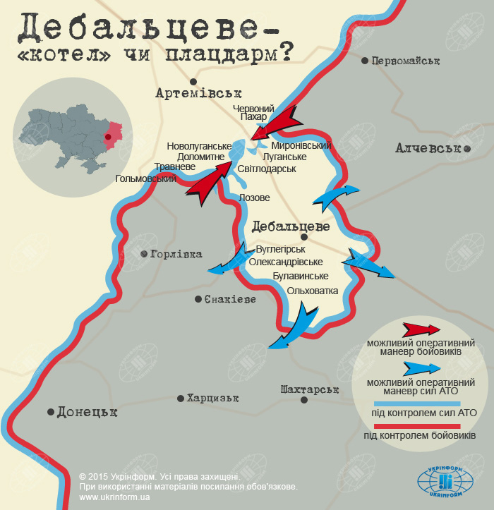 Расстановка сил в районе Дебальцево