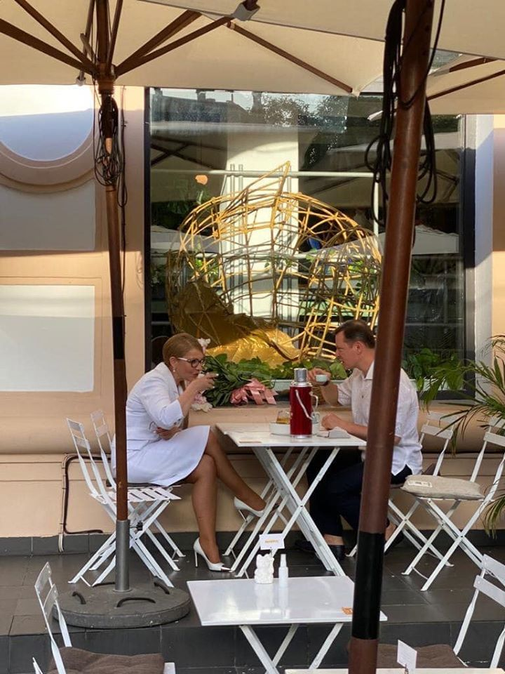 Тимошенко и Ляшко в киевском кафе