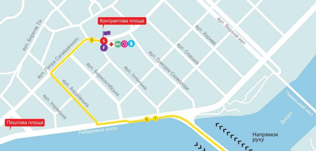 Старт и финиш всех дистанций марафона - Контрактовая площадь