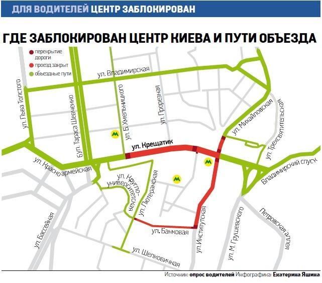 Как объехать перекрытые улицы в центре Киева