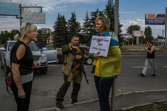 Ирина Довгань в оккупированном Донецке в августе 2014 года