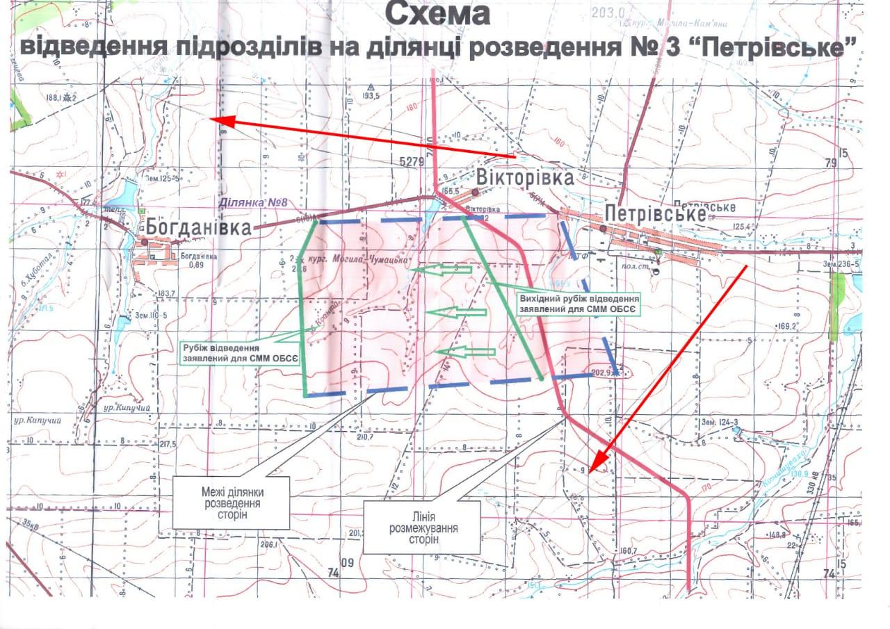 Карта местности в зоне разведения у Петровского