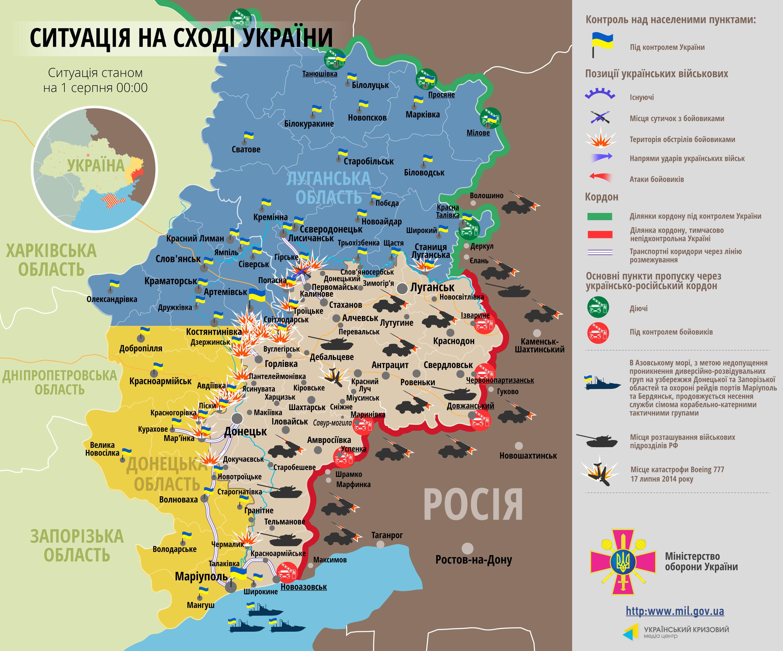 Карта АТО за 1 августа