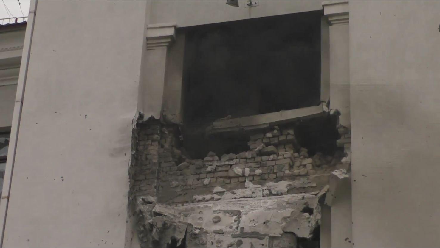 Разрушения здания ОГА