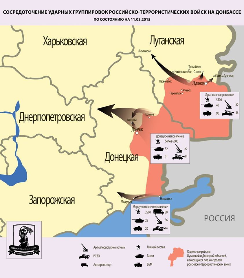 Схема ударных группировок РФ в Украине