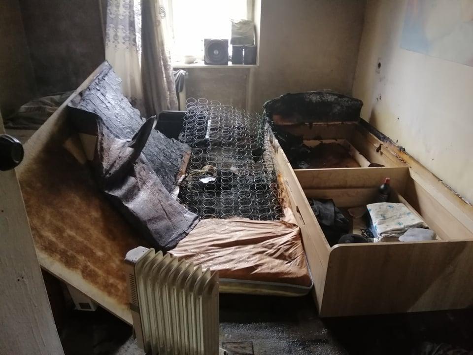 Сгоревшая комната в общежитии