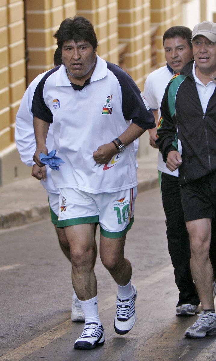 Президент Боливии Эво Моралес на пробежке