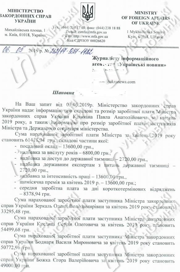 Какую зарплату получил Павел Климкин в апреле-2019