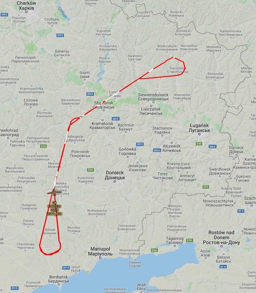 Украинский милитарный портал показал маршрут беспилотника над Донбассом