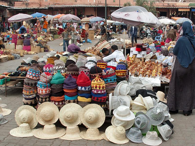 Рынок Марракеша (Марокко) знаменит изделиями ручной работы